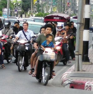 Three people fit on a bike easily, especially if one is a baby