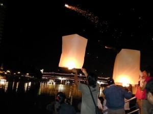 Fire Balloons Loi Krathong Chiang Mai Thailand
