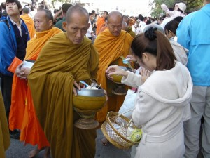 Monks collect alms