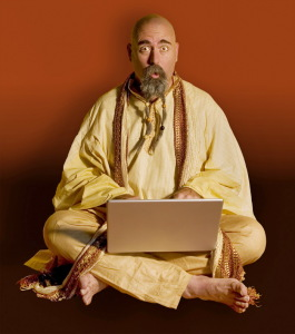 funny guru on laptop