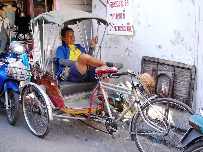 Tricycle taxi driver in Chiang Mai