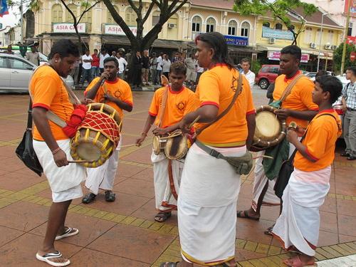 Hindu street musicians in Penang