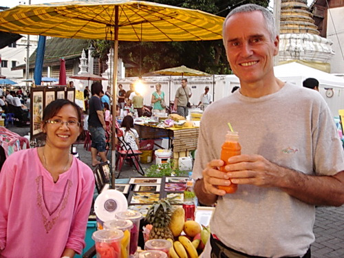 drinking fruit juice in Chiang Mai