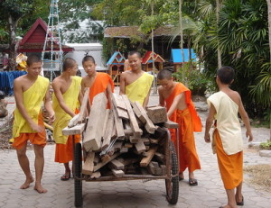 Young Thai monks working