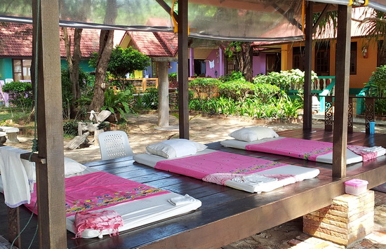 Beach massage pavilion at a resort in Ko Lanta, Thailand