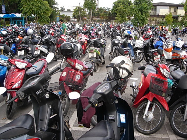 Motorbike parking at the mall in Chiang Mai, Thailand