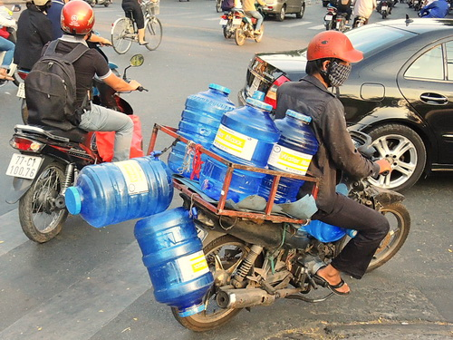 bike loaded with bottles