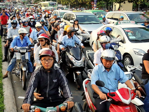 traffic gridlock In Saigon