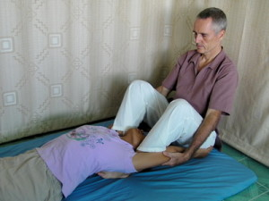 Thai Massage upper back and neck stretch