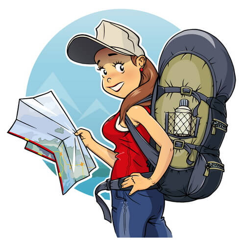 backpacker cartoon